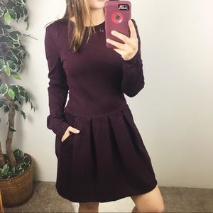 Aritzia Wilfred Tartine dress in plum long sleeve